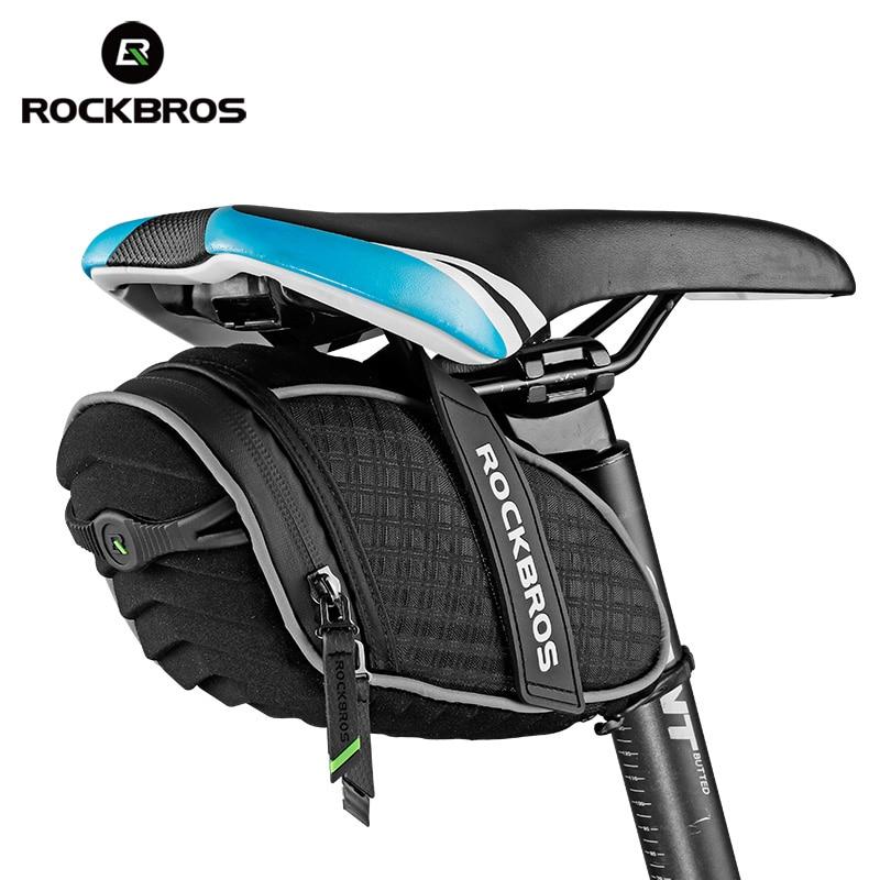 ROCKBROS Cycling Saddle bag Rear Seatpost Bag 3D Shell Rainproof Reflective Bike Bag Shockproof Bicycle Bag MTB Bike Accessories