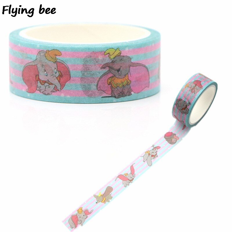20 unids/lote Flyingbee 15mmX5m washi Tape de papel elefante Kawaii cinta adhesiva de La etiqueta engomada cinta adhesiva X0263