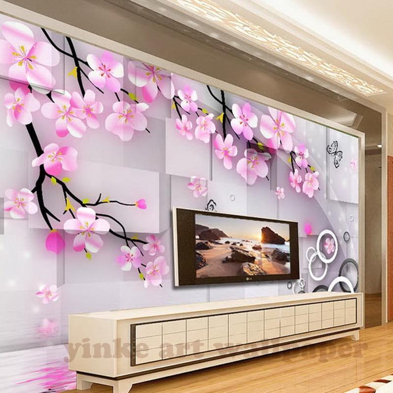 custom Photo Wallpaper stereoscopic pink peach blossom 3D Large Mural Living Room Sofa TV Backdrop 3D Wall Murals Wallpaper Roll