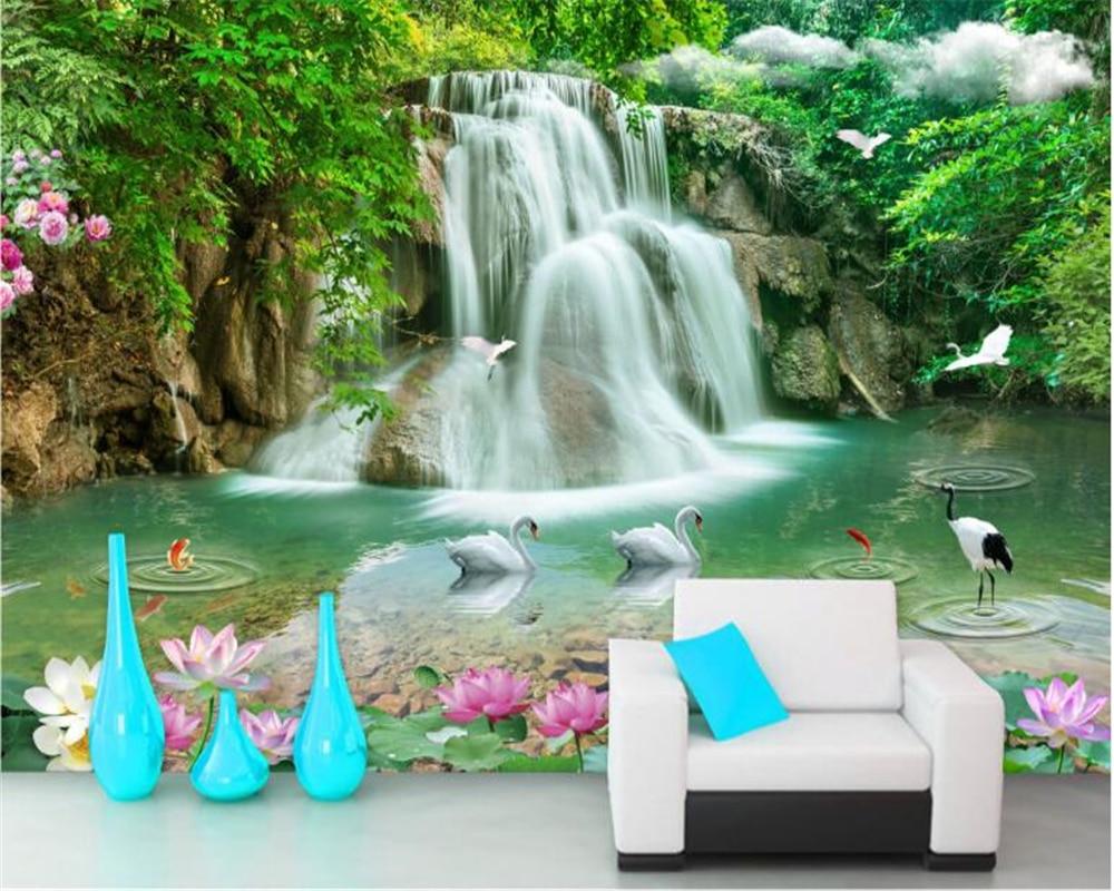 beibehang Stereoscopic fashion beautiful high school wallpaper landscape waterfall landscape TV background wall papel de parede