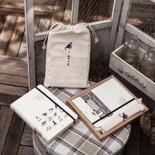 Cahier de bureau école en tissu, sac en tissu avec carnet de rangement sur les paysages des animaux du chat mignon, Bujo, stock de points de grille vierge, cadeau