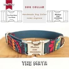 MUTTCO grawerowane nazwa zwierzaka handel detaliczny specjalny styl etniczny kolorowe ręcznie miękkie obroże dla psów MAYA samodzielnie stworzone 5 rozmiarów UDC043