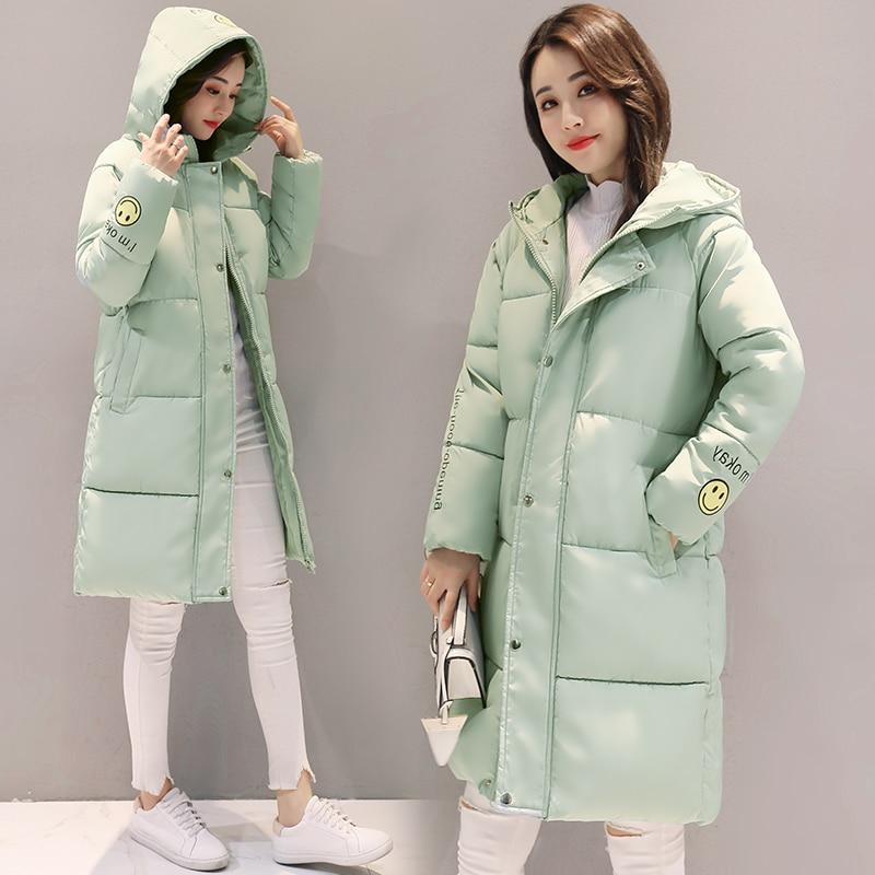 Parkas de mujer, chaqueta de invierno, abrigo para mujer, abrigo largo cálido con capucha, estampado de sonrisas, Parkas acolchadas, chaqueta de sudor para niñas, prendas de vestir frías