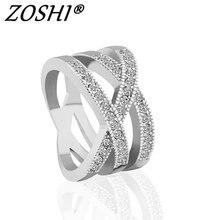 Moda multi círculos torcidos anéis largos rosa cor de prata ouro mirco pavimentado claro cz pedra anéis para jóias femininas anel