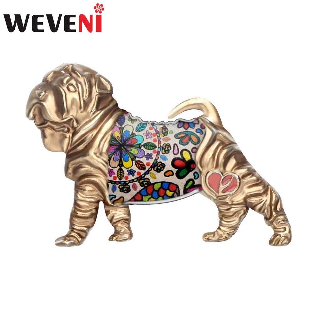 WEVENI Shar Pei Cão Da Liga do Esmalte Broches Roupas Cachecol Pin Moda Jóias Para Meninas Mulheres Presente Animal de Estimação Adolescentes Decoração