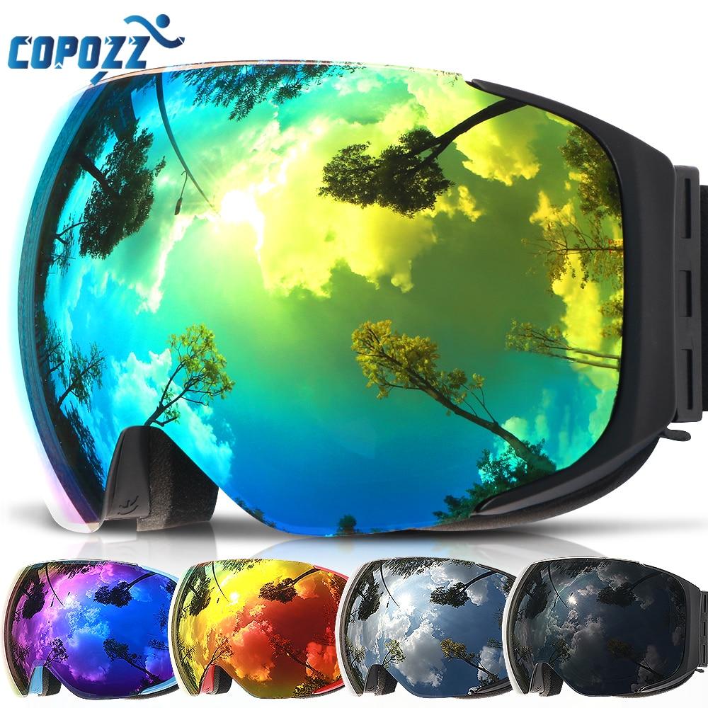 COPOZZ מותג סקי משקפי להחלפה מגנטי עדשות UV400 אנטי ערפל שלג סקי מסכת סקי גברים נשים סנובורד משקפי GOG-2181