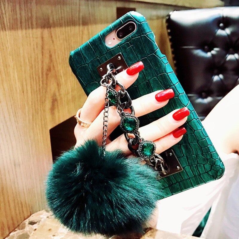 For iPhone X XR XS MAX Crocodile Skin Diamond Gem Bracelet Chain Tassel Fox Fur Ball Hard Cover For iPhone 11 6 6S 7 8 Plus Case