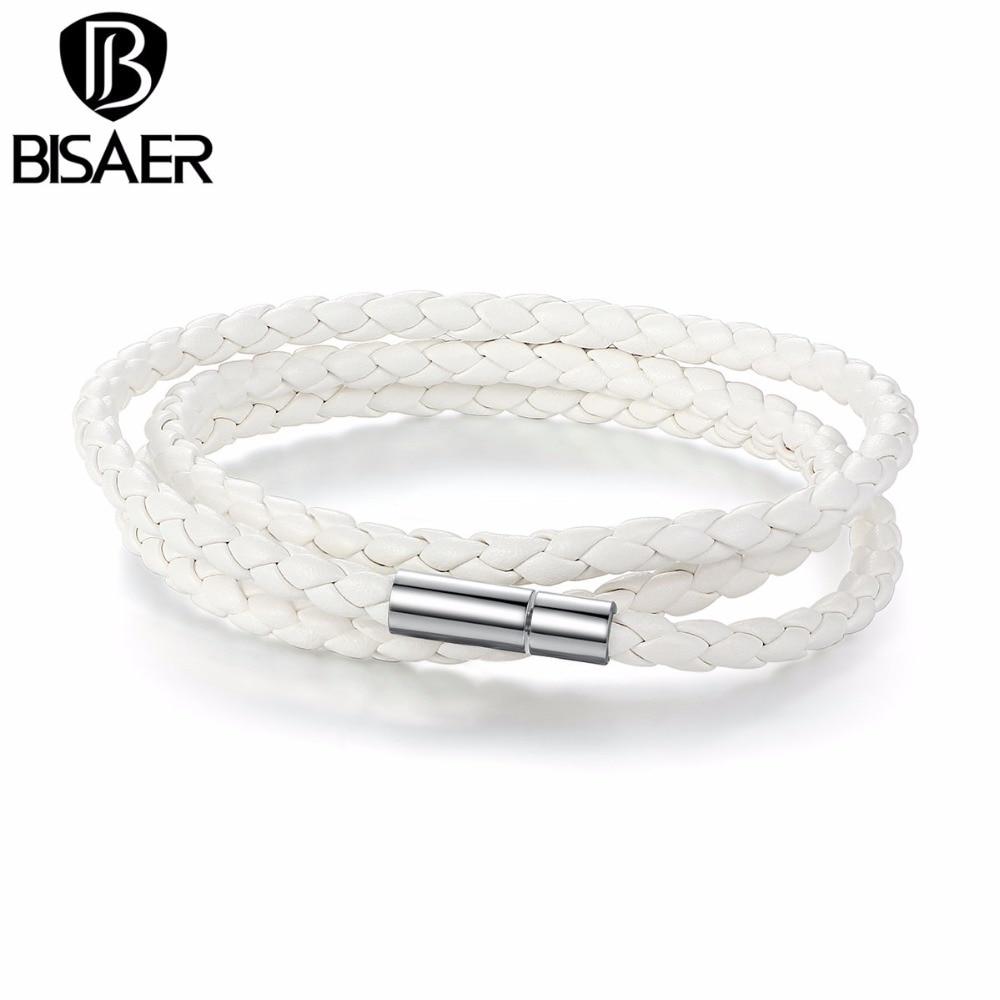 BISAER, pulsera de cadena larga barata con hebilla magnética ajustable, pulseras de cuero blancas para hombres, pulseras de joyería de moda WEV0063