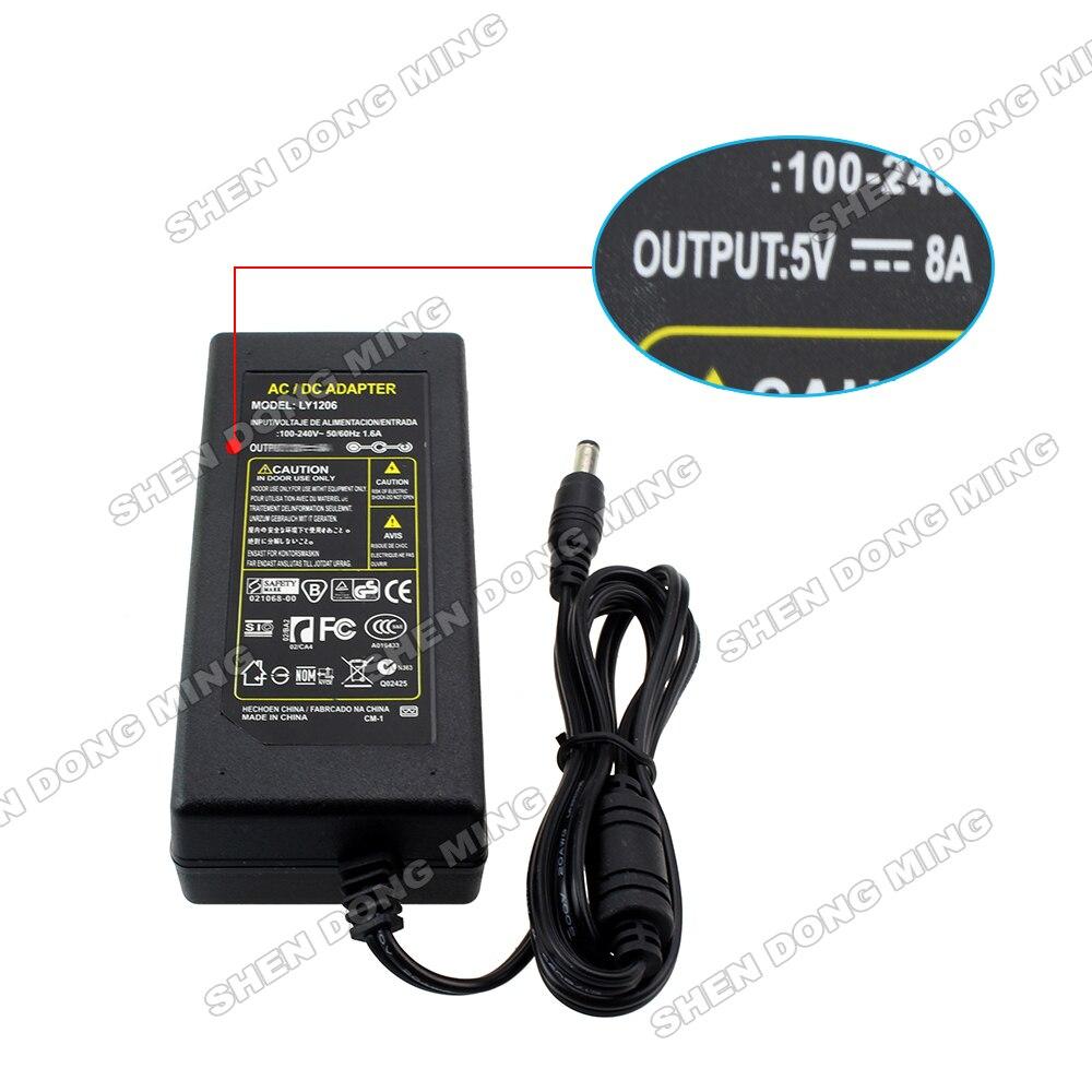 1pcs/lot AU/US/EU plug LED Power Dirver DC5V 8A power Adapter 40W 100-240V Power Supply for led strip 5050 3528 5630