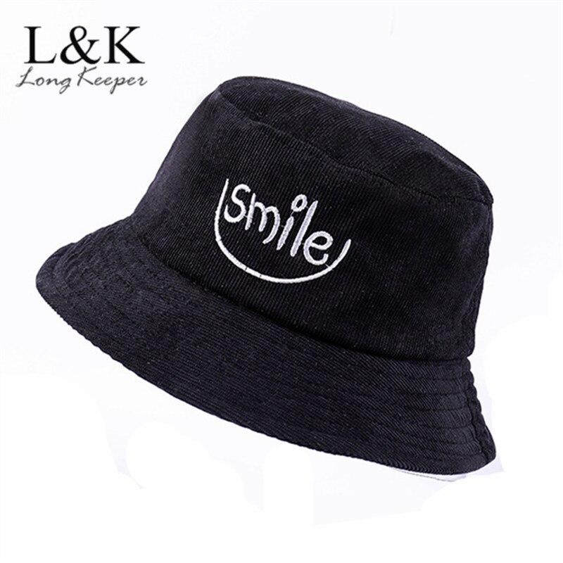 Sombreros de lana de cubo para hombre, gorras con letras bordadas con sonrisa para mujer, gorra de moda de calle de Hip Hop, sombrero de pescador con protección solar, Sombrero de Panamá