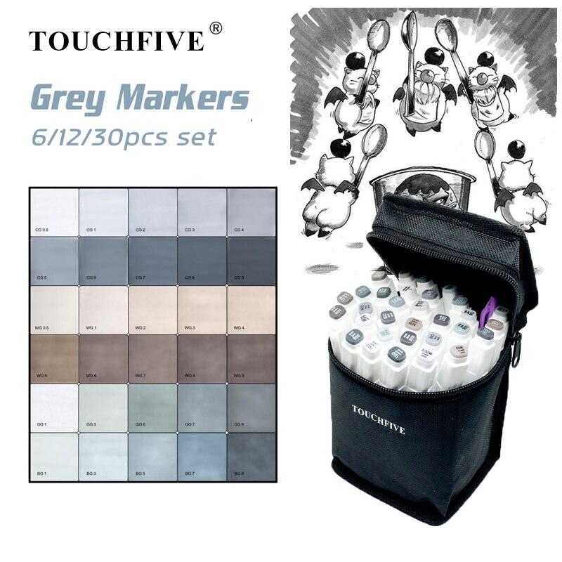 Touchfive 6/12/30 marcadores conjunto álcool baseado marcadores de esboço caneta escova para manga desenho arte suprimentos marcadores design cinza