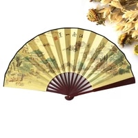 free shipping 100pcs polyester wood hand fans chinese vintage fancy dress costume mens decorations craft supplies gift party