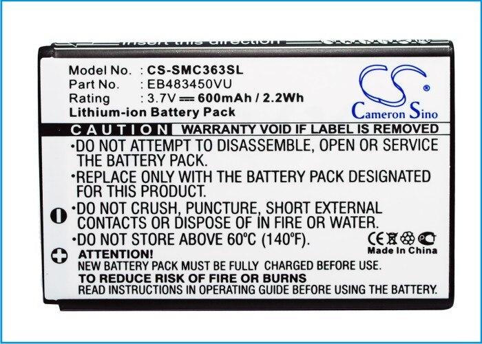 Cameron Sino 600mAh bateria EB483450VU do Samsung GT-C3230, GT-C3630, GT-C3630C, GT-C3752, GT-S5350