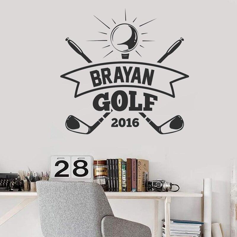 Calcomanías deportivas de vinilo para pared nombre personalizado de Golf vinilos de pared para niños habitación Golf decoración citas papel de pared de hogar interior extraíble ZW505
