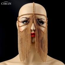 Chran New Luxury Fashion Women Punk Multi Layer Metal Head Chain Jewelry Forehead Headband Hair Piece Halloween Body Jewelry