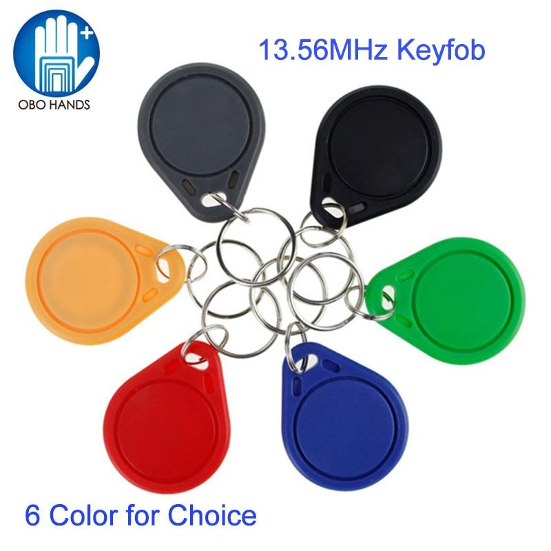 Брелоки для ключей OBO HANDS, RFID, 13,56 МГц, NFC тег, IC, идентификационные rfid-брелоки M1 s50, разные цвета, высокое качество (100 шт.)