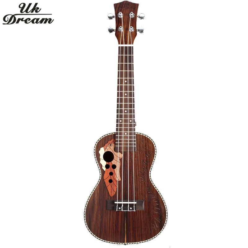 21 pulgadas Ukelele Rosewood Mini Guitarra acústica musical instrumento Soprano Ukelele con vinculante cuerdas Aquila Hawaii Guitarra