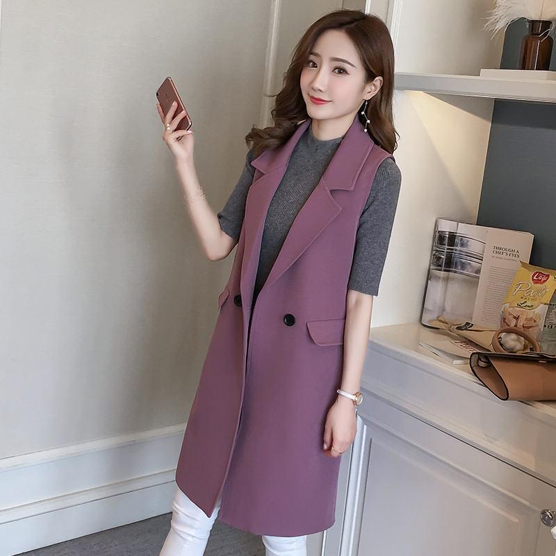 New Spring Autumn Elegant Women Vest BF Long Vest Coat Chaleco Mujer Sleeveless Waistcoat Office Blazer Vest Jacket Female C5174