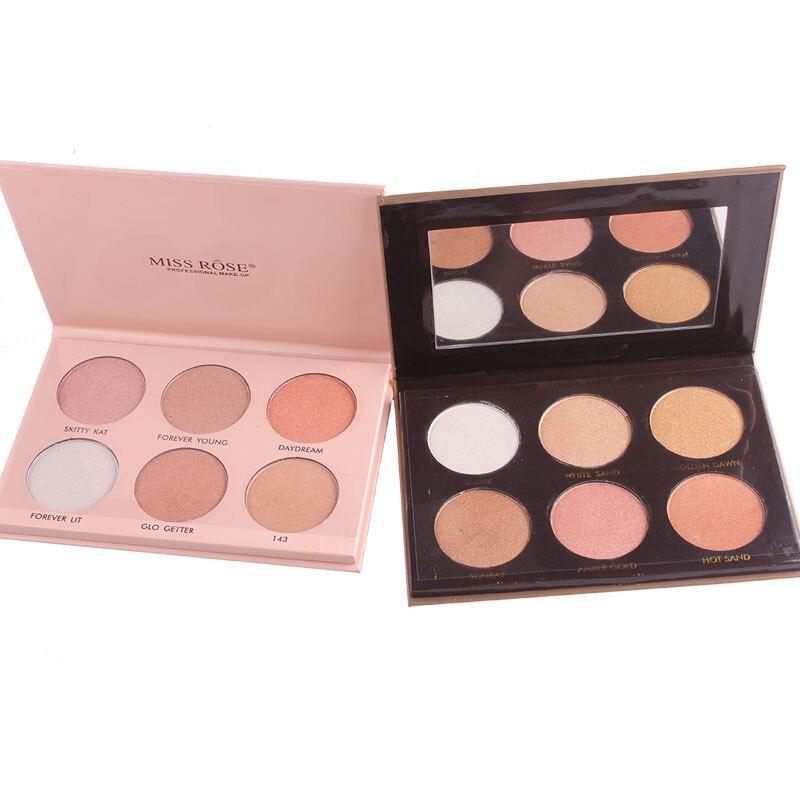 Paleta resaltadora de polvos faciales de 6 colores iluminador contorno bronceadores sombra Facial modificación TSLM1