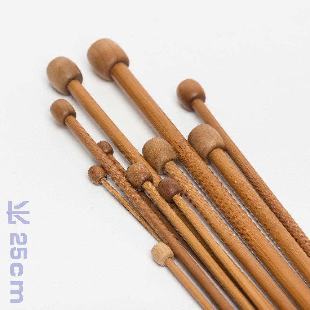 36 unids/set 18 tamaños bambú carbonizado conjunto de Agujas de tejer un...