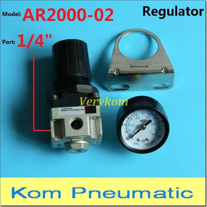 "Pneumatic Source Treatment Unit Compressor Air Pressure Regulator AR2000-02 1/4 Inch SMC Type  1/4"" BSP AR 2000 W Bracket Gauge"