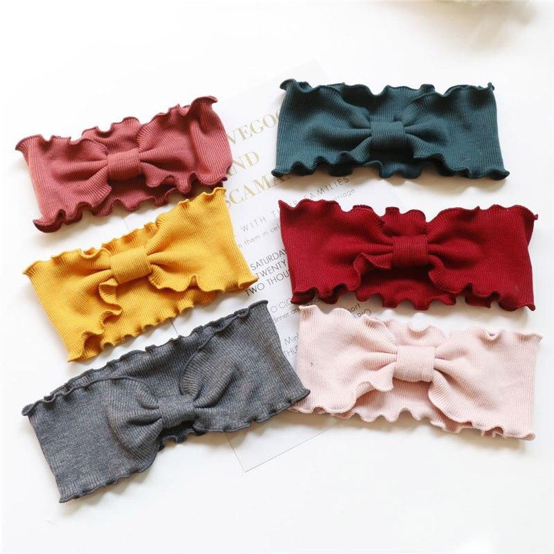 Elegante senhora menina onda selvedge malha bandana para mulheres christma presente outono inverno coreano atada faixa de cabelo acessórios para o cabelo