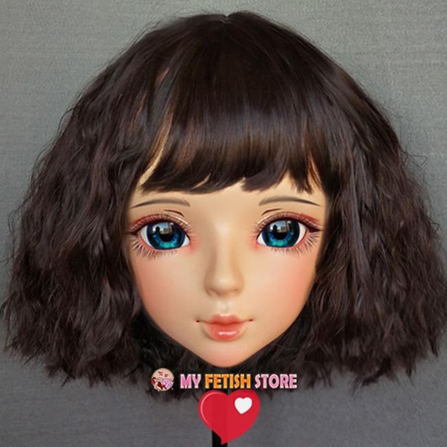 Feminino Doce Menina Resina Meia Cabeça Kigurumi Bjd Máscara Cosplay Anime Japonês Papel Lolita Boneca Crossdress Shi-05
