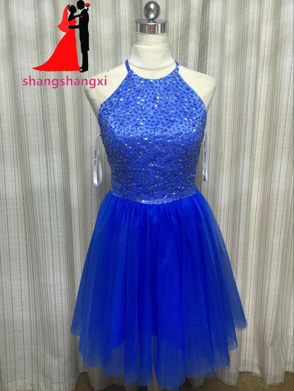 New RoyalBlue Ball Gowns Cocktail Dresses 2018 Sequins Beads Short Prom Dress Formal Party Homecoming Dresses