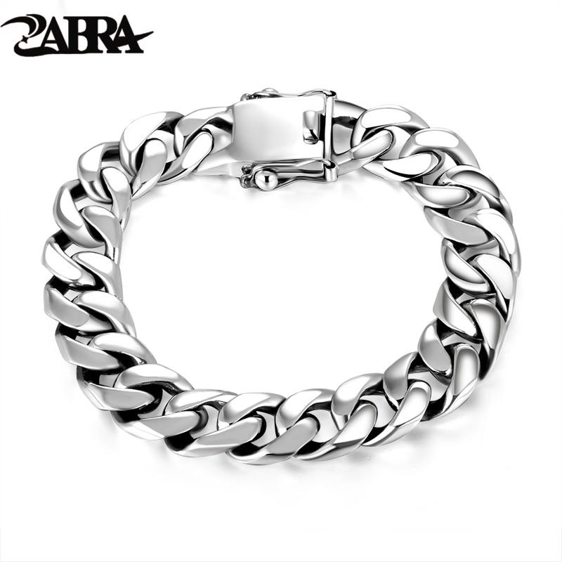 Get ZABRA Luxury 925 Sterling Silver Bracelets Man High Polish Curb Link Chain Bracelet for Men Vintage Punk Rock Biker Mens Jewelry