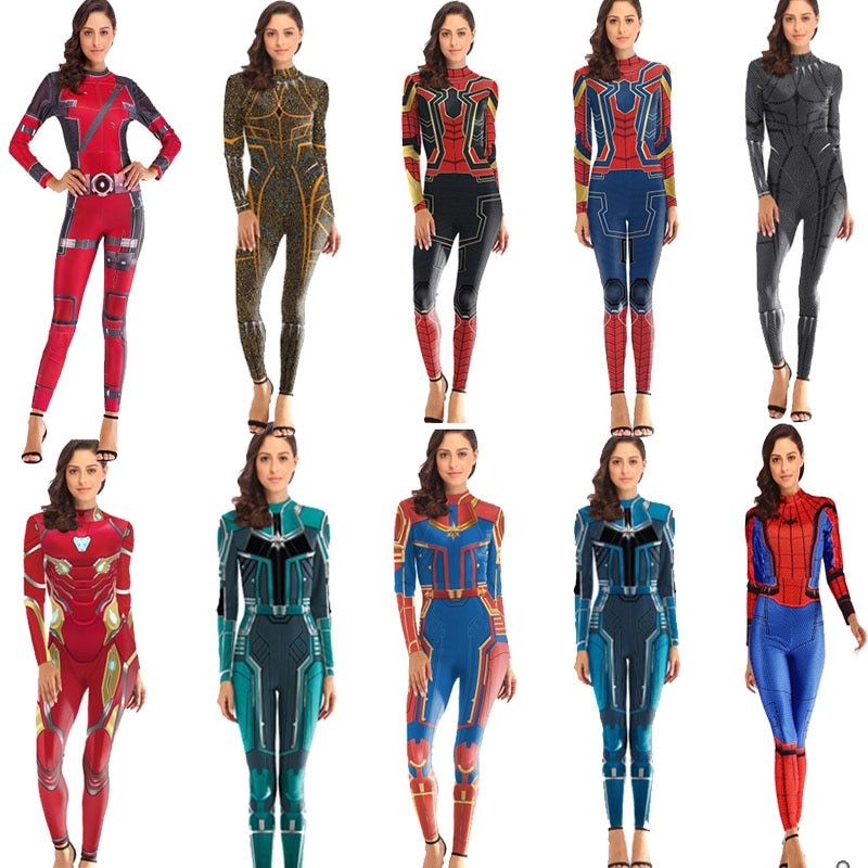 Cosplay Mulheres endgame capitão marvel avengers Spiderman zentai Suit Traje Do Homem De Ferro Mulheres jumpsuit Jumpsuit romper geral