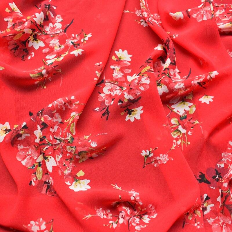 Tela de gasa con estampado floral rojo de gran calidad 2018 tejido suave y cómodo para vestido de mujer material diy por metro