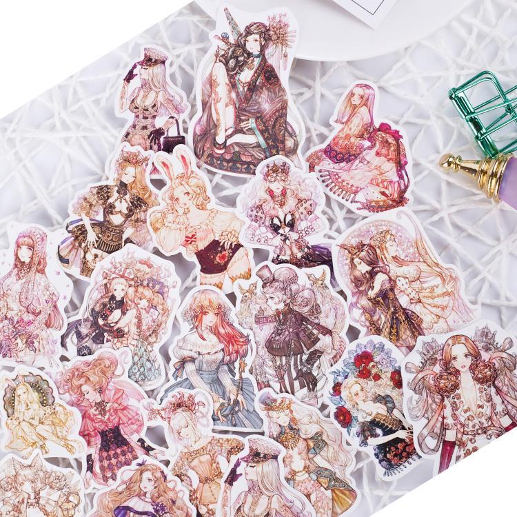 AliExpress - 190pcs/pack Sen Goth girl Lolita girl sticker Handbill sticker homemade watercolor hand-painted daily scrapbooking stickers