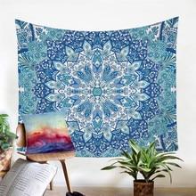 Blue Mandala Flower Tapestry Indian Bohemia Hanging Wall Carpet Polyester Soft 130cmx150cm 150cmx200cm Home Decor