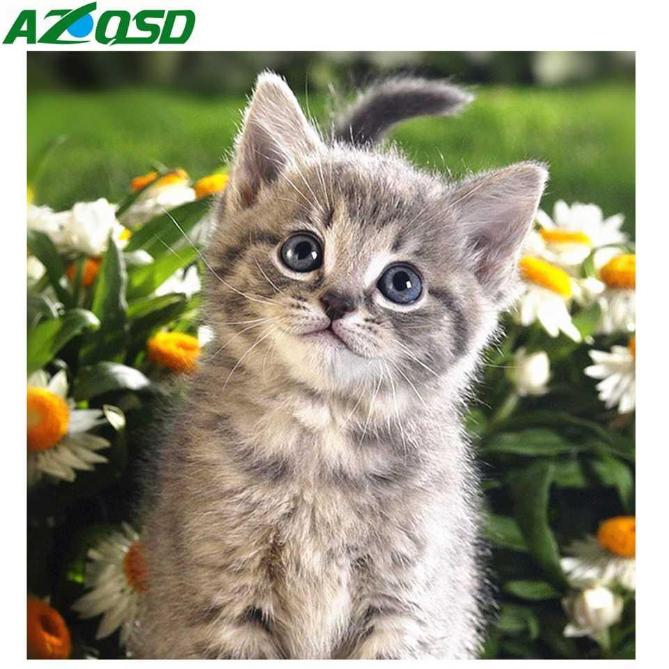 AZQSD bordado de diamantes Pantalla Completa gato pintado diamante flores imagen de diamantes de imitación Kit para manualidades decoración de pared regalo costura
