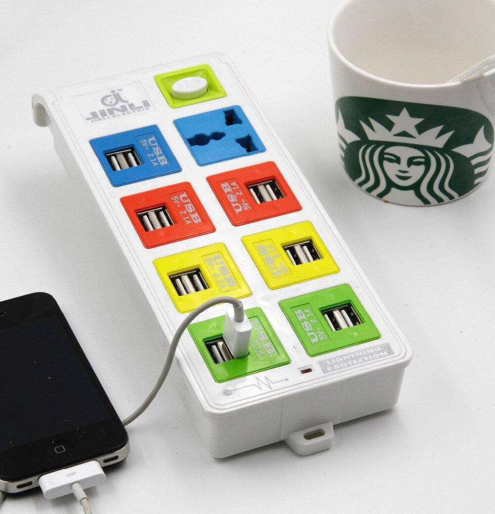 مقبس كهربائي عالمي مع 8 اتجاهات و 14 USB ، BR IL AU EU US UK