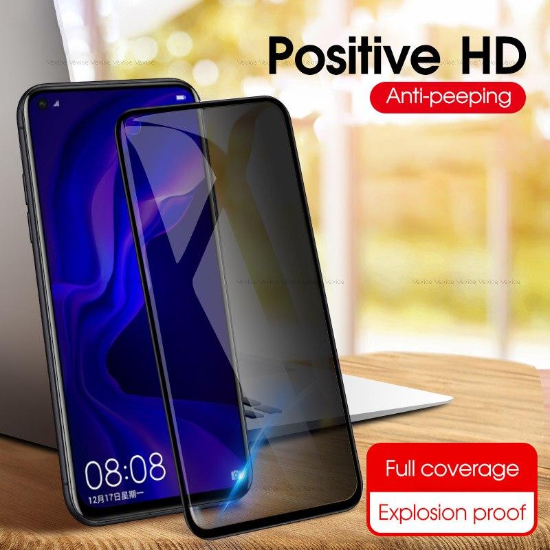 Anti-Spy Vidro Temperado Para Huawei Honor 10 8X Vista 20 V20 P20 Pro Companheiro 20 P30 Lite Nova 4 Y9 4e 2019 Privacidade Protetor de Tela