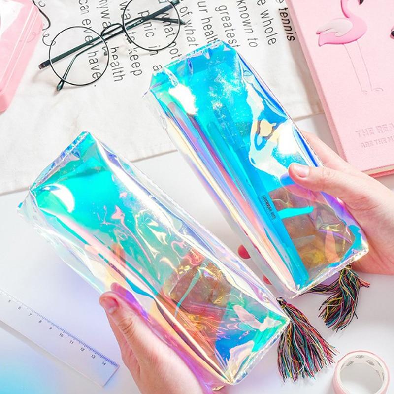 Bolsa de lápiz láser iridiscente láser estuche de cuero PU holograma transparente Pencilcase escuela suministros papelería