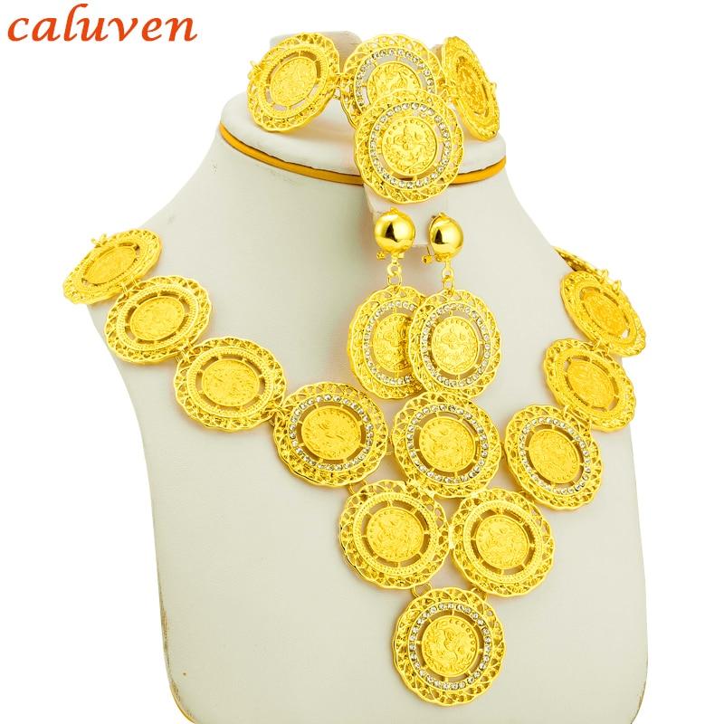 Золотые монеты, турецкие монеты, ожерелье, серьги, кольцо, браслет, Большие Монеты, ювелирные наборы, арабские подарки, турки, Африка, вечерин...