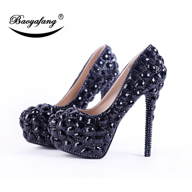 BaoYaFang, cyrstal negro, zapatos de boda para mujer, zapatos de tacón alto con plataforma, zapatos de fiesta para mujer, zapatos de punta redonda para mujer, talla grande