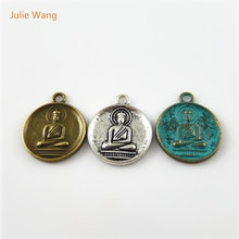 Julie Wang 15PCs Mixed Color Mini Swastika Charms Alloy Round Buddhism Pendant Handmade Fashion Jewelry Making Accessory