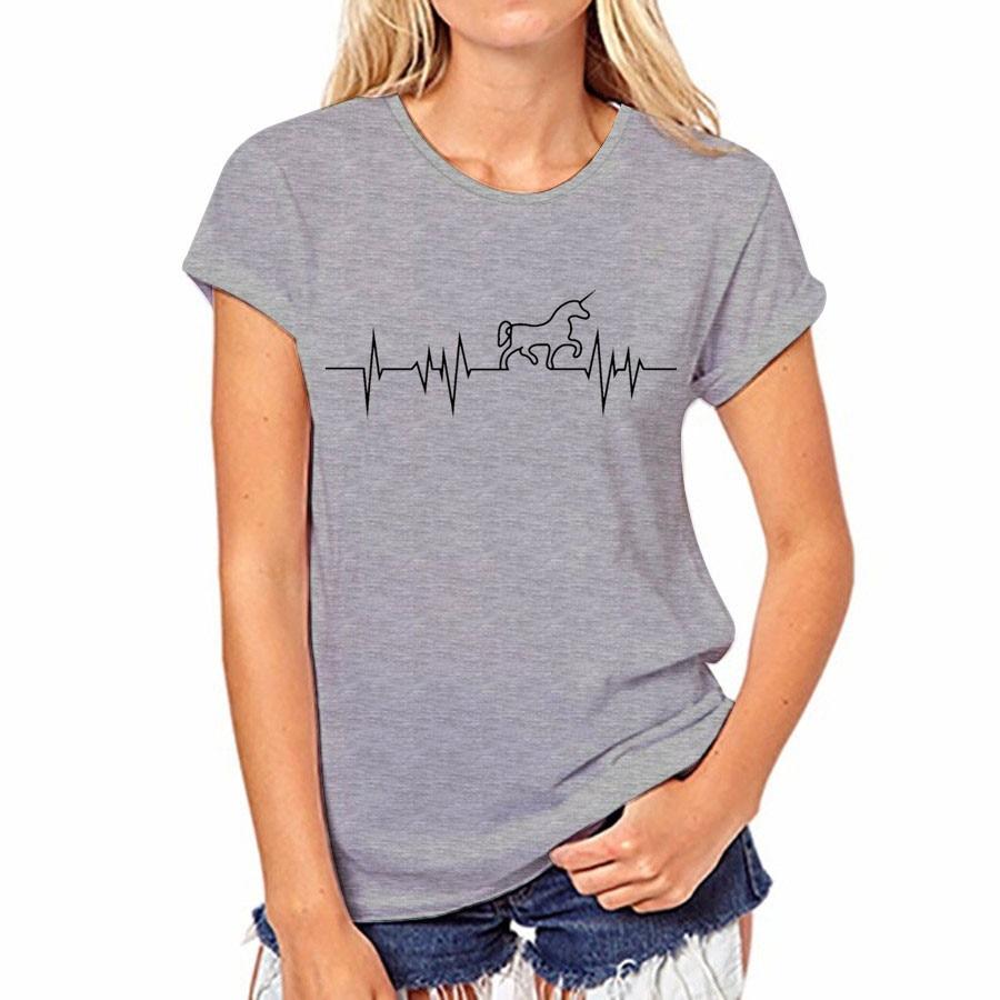 Novel style Women T shirt Summer Unicorn ECG black Printing Tees gray Short sleeve O-neck Casual Good Quality Shirts Soft Tops