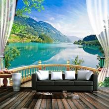 Personnalisé 3D Photo papier peint balcon fenêtre bleu ciel blanc nuages lac forêt paysage salon canapé TV toile de fond murale papier peint