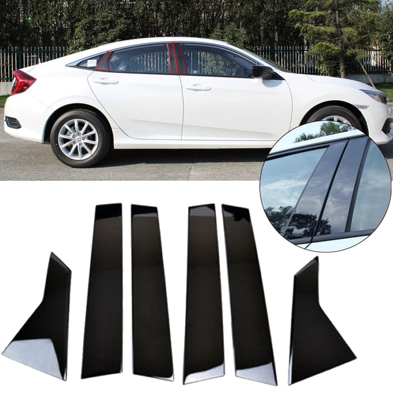 6pcs Car Window Pillar Middle Column Post Trim Cover For Honda Civic Sedan 2016-2018 Car Styling Accessories