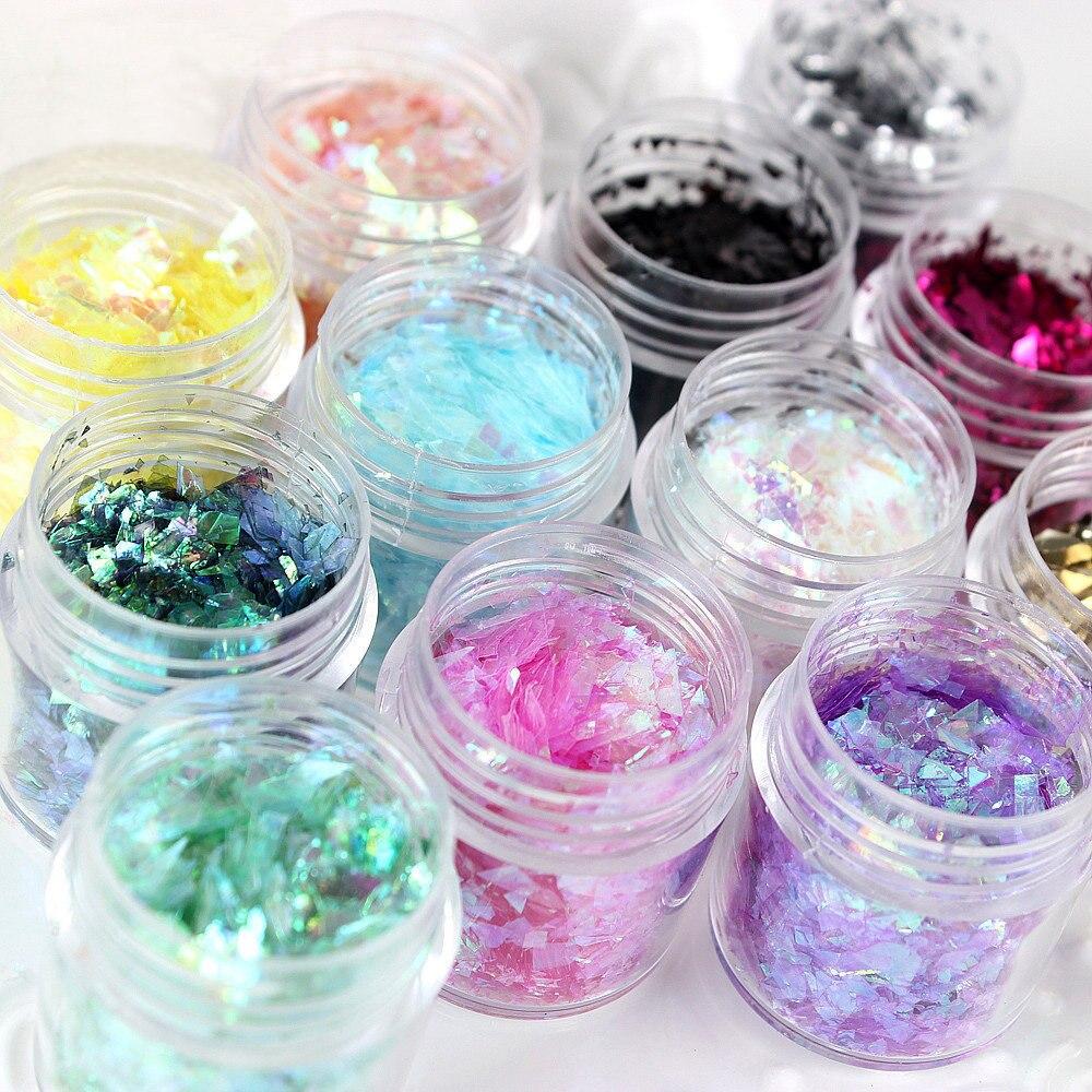 1 bottle Nail art suger shell powder natural shell slice powder foil Platinum paper/broken mirror sticker for nail art make-up
