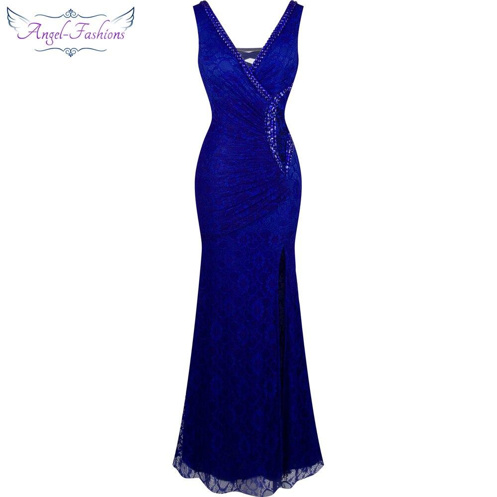 Angel-fashions, vestido Formal de fiesta con cuello en V y cuentas de encaje transparente, vestido de noche, bata de noche 232