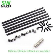 SWMAKER Kossel K800 delta 180mm/300mm/500mm carbon tube rod set 10mm dia metal ball +12 pcs*magnet 3D printer accessories
