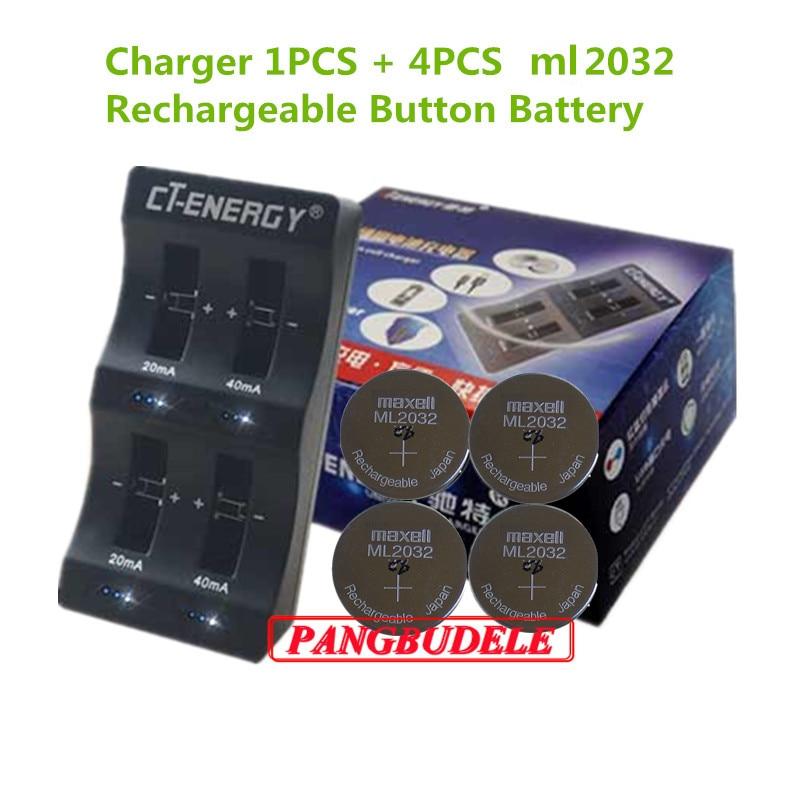 Hohe Qualität Universal Usb-schnittstelle 4-Slot Ladegerät 1 PCS + 4 PCS Wiederaufladbare Taste Batterie ml2032 Taste Batterie
