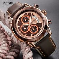 MEGIR мужские модные часы с хронографом, светящиеся водонепроницаемые аналоговые кварцевые наручные часы для мужчин с индикатором даты 2071GREBN