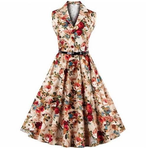 V-Neck Summer dress Women Sexy 50s 60s Lady Elegant Print Casual Floral Sleeveless Cotton Dress Sundress Feminino Vestidos S-4XL