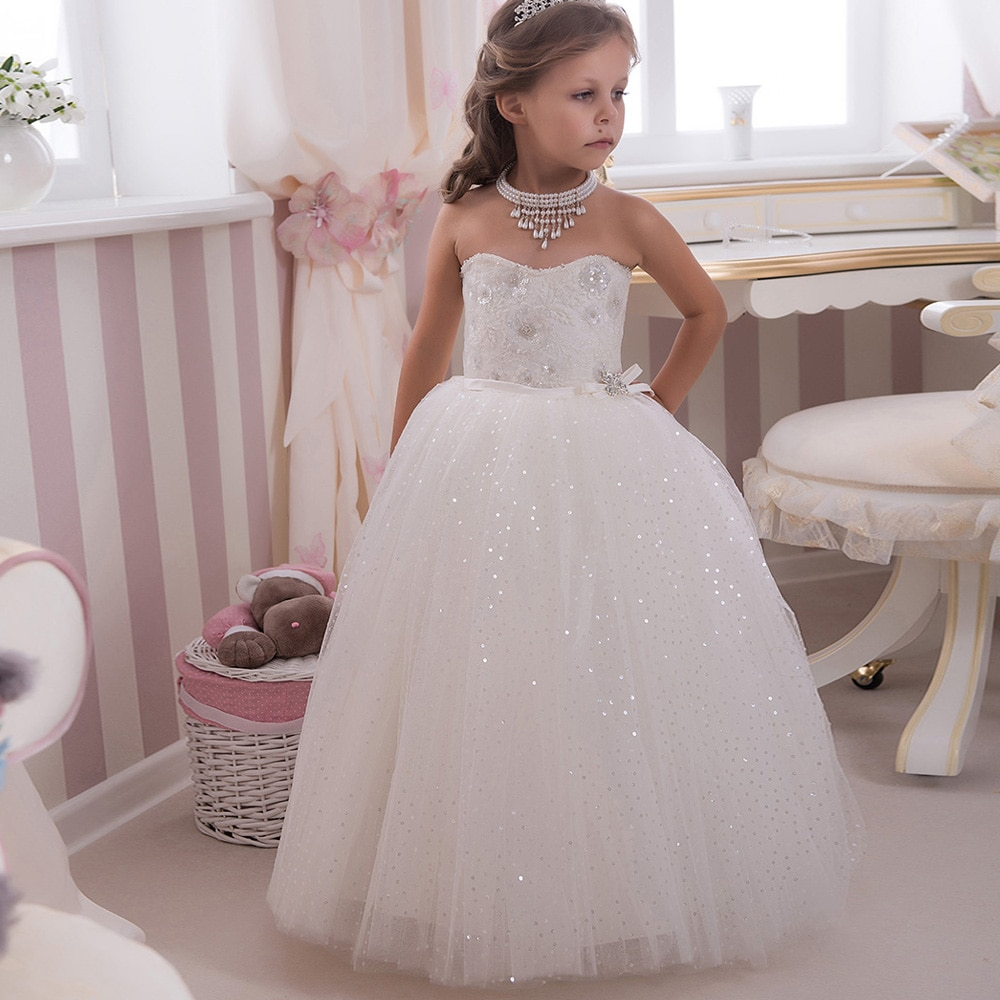 Sparkle Bling Bling Sequined Kids Puffy Ball Gowns Strapless Bow Sash Long White Little Girl Wedding Party Dress 2-12 Year Old enlarge